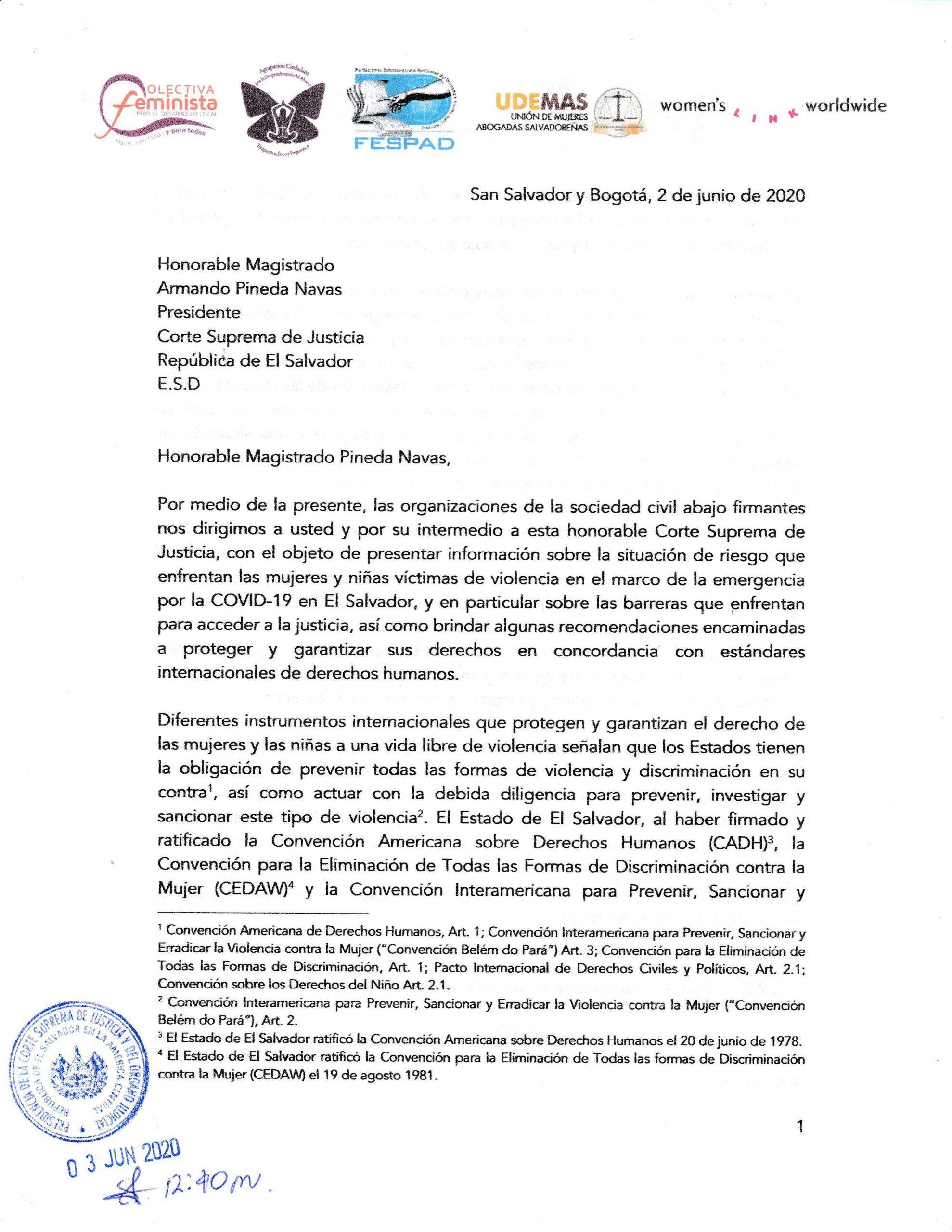 Organizaciones sociales envían correspondencia a CSJ por violencia contra niñas y mujeres