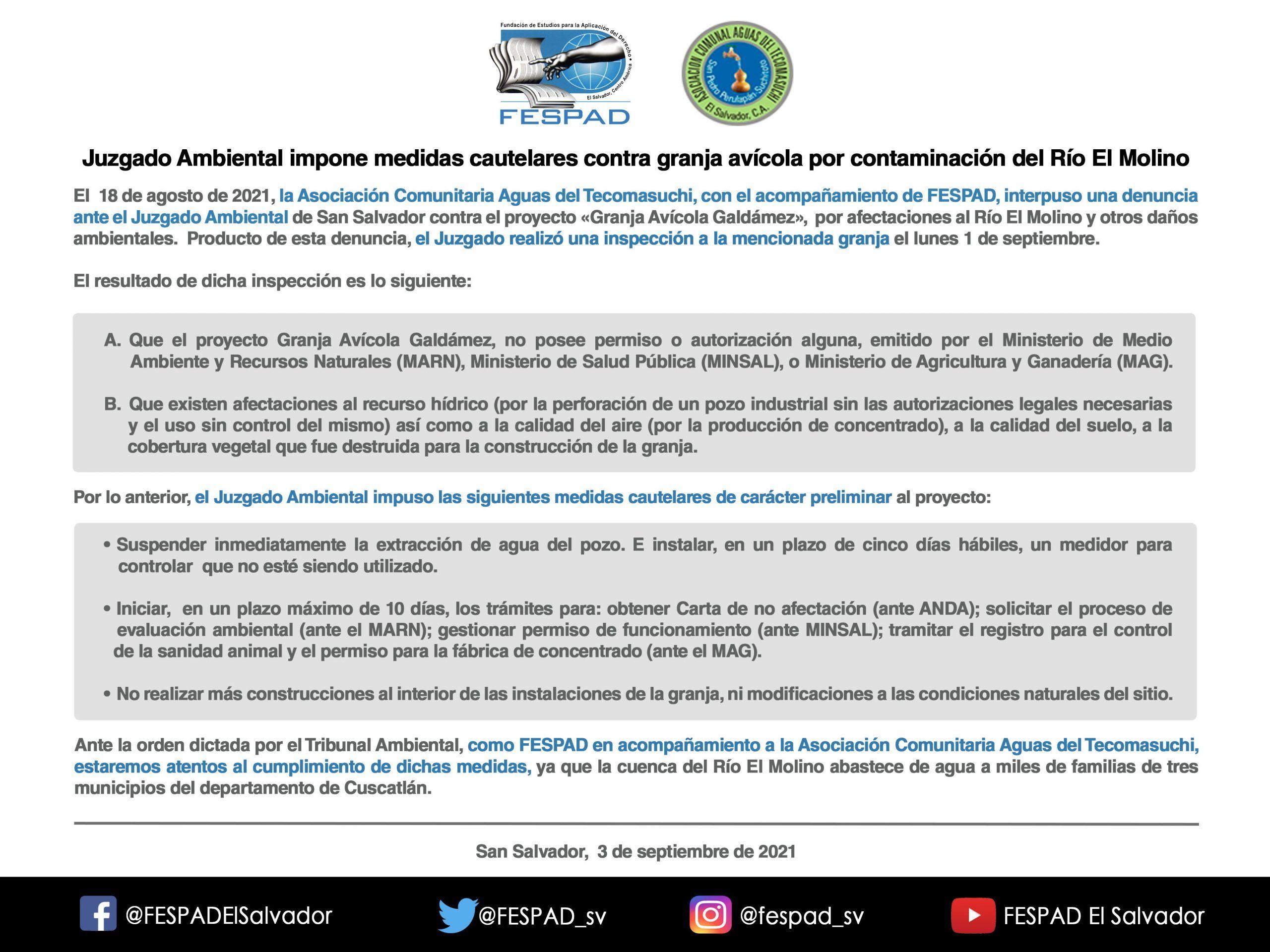 Juzgado Ambiental impone medidas cautelares contra granja avícola por contaminación del Río El Molino