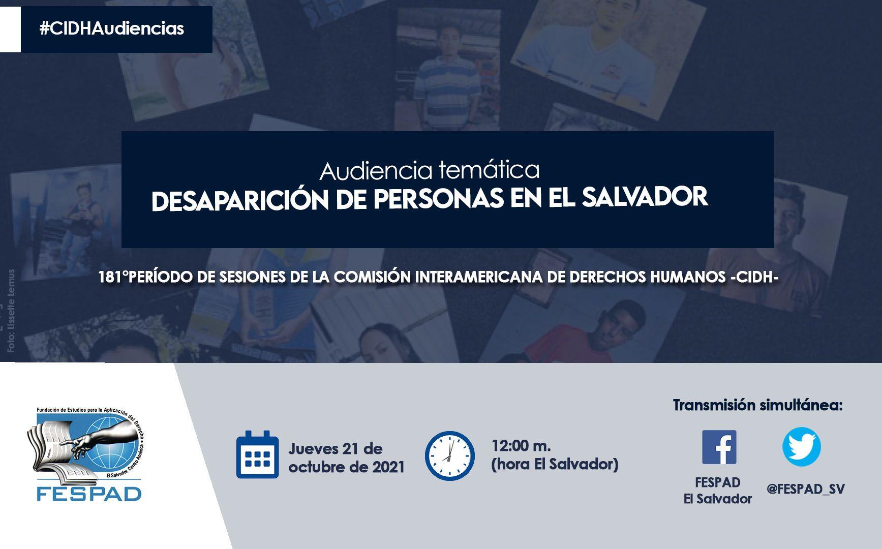 FESPAD participará en audiencia de CIDH sobre personas desaparecidas