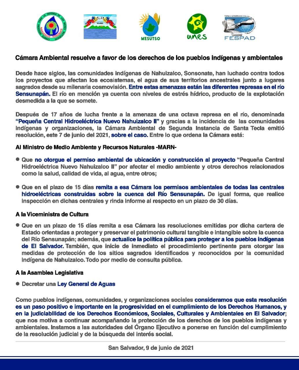 Cámara Ambiental resuelve a favor de los derechos de los pueblos indígenas y ambientales