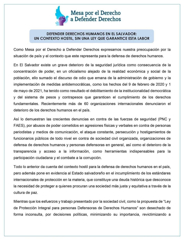 Comunicado | Defender derechos humanos en El Salvador: un contexto hostil, sin una ley que garantice esta labor