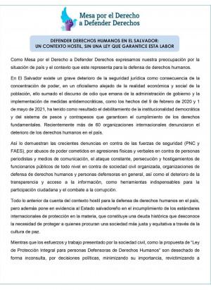 Comunicado   Defender derechos humanos en El Salvador: un contexto hostil, sin una ley que garantice esta labor