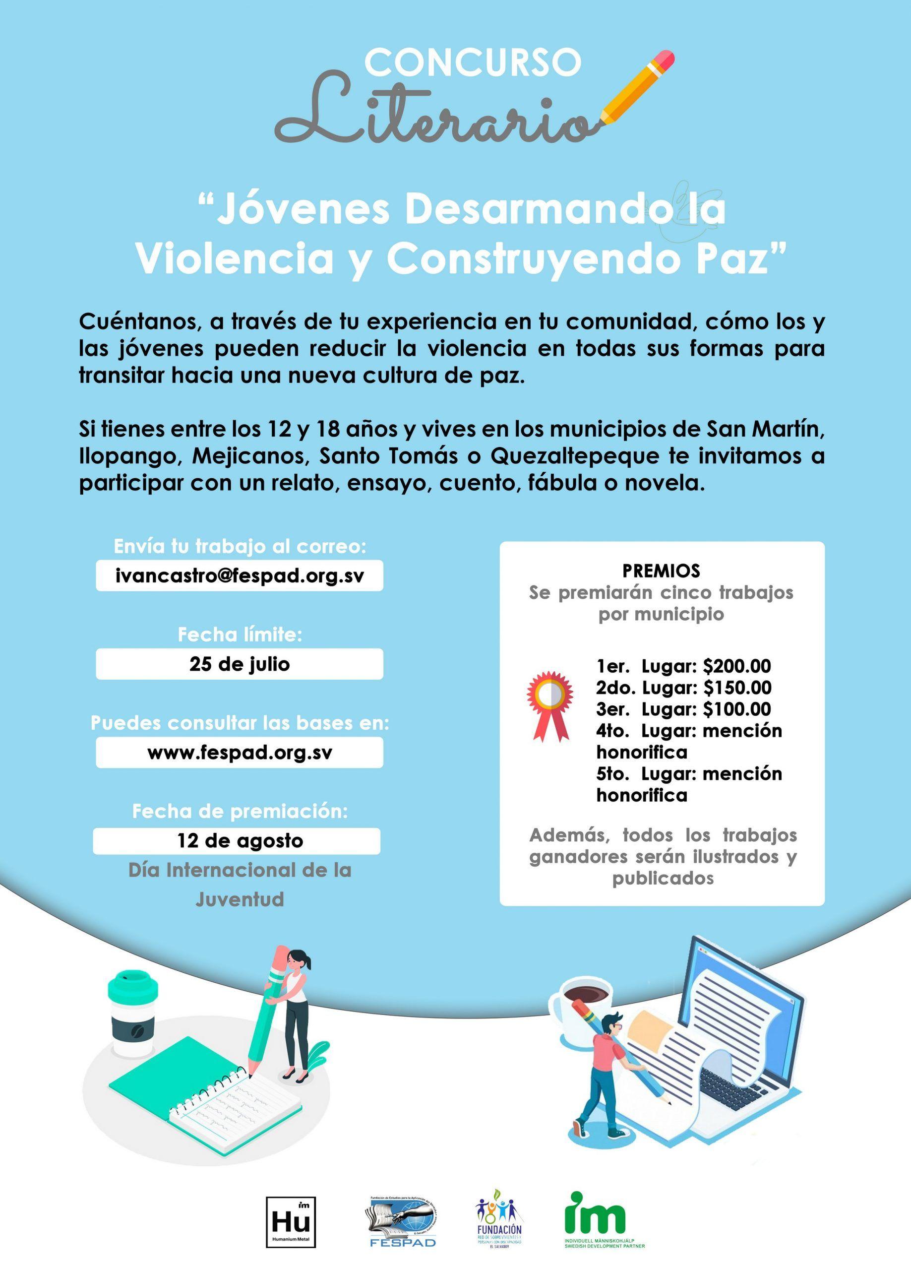 Concurso literario: «Jóvenes Desarmando la Violencia y Construyendo Paz».