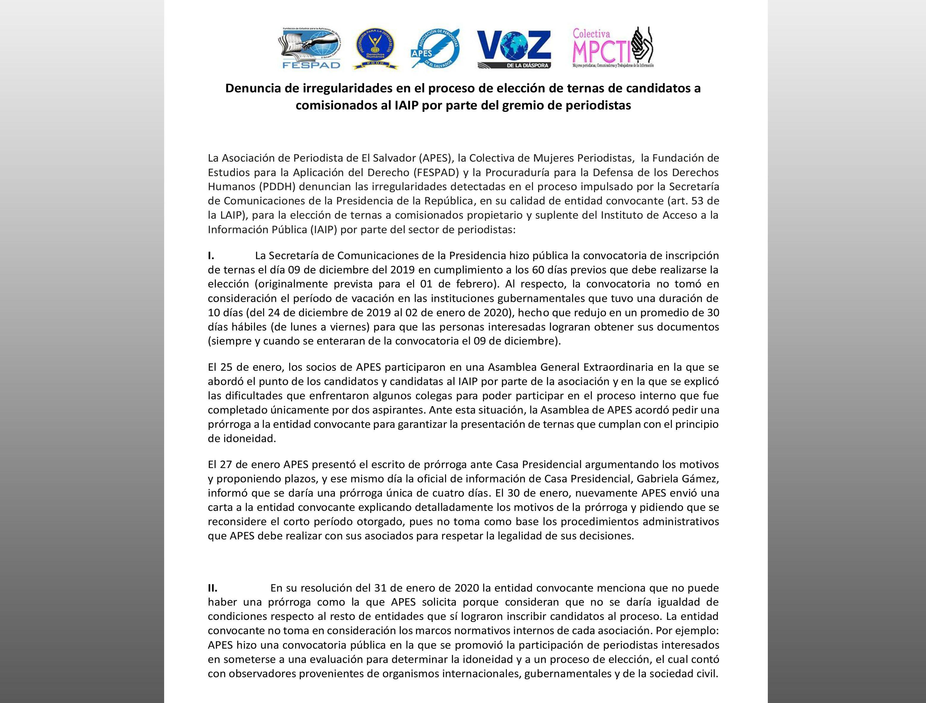 COMUNICADO: Irregularidades elección de comisionados al IAIP -sector periodistas