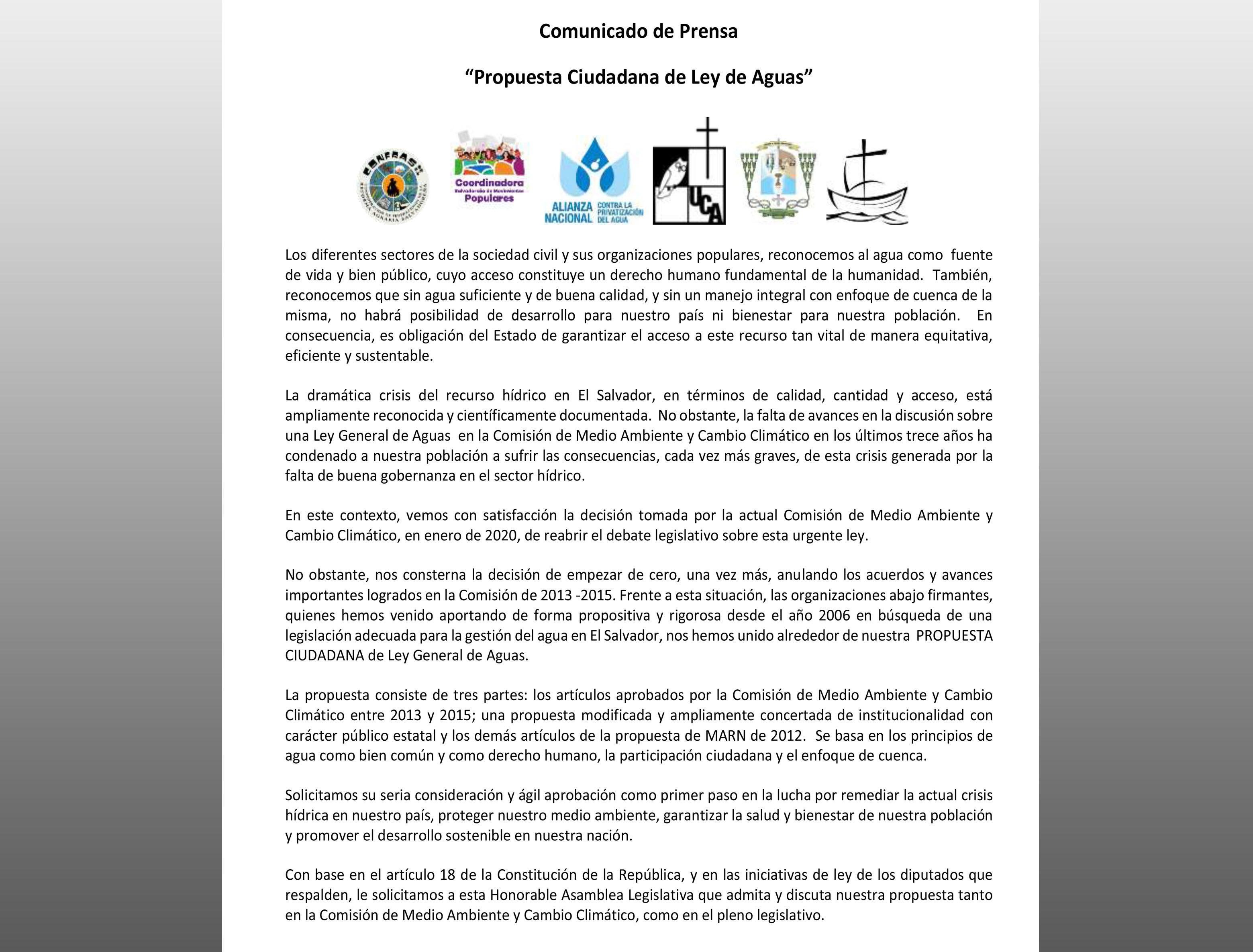 COMUNICADO: «Propuesta Ciudadana de Ley de Aguas»
