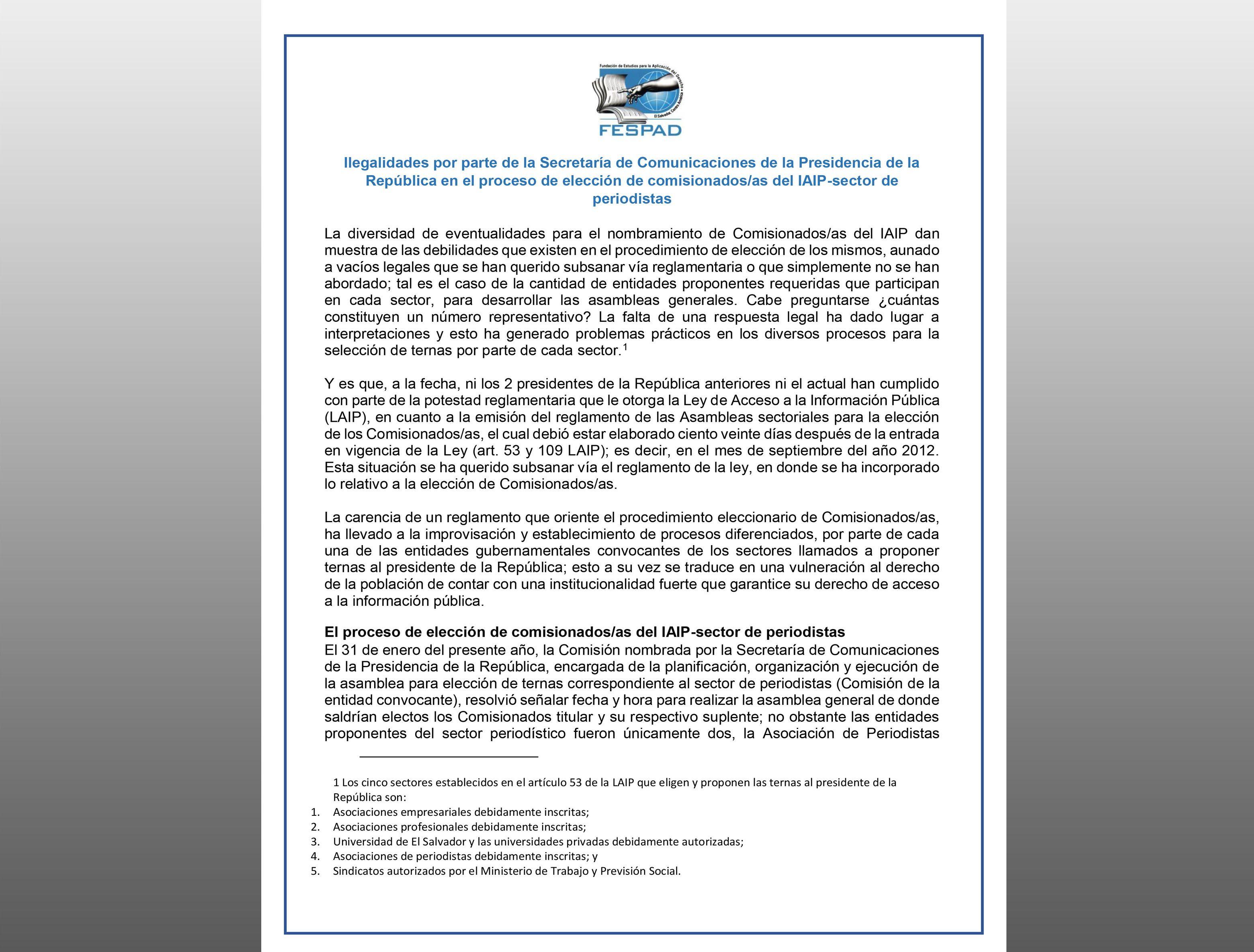 COMUNICADO: Ilegalidades en elección de comisionados/as del IAIP