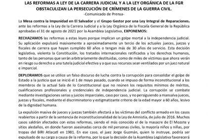 Comunicado: Las reformas a la Ley de la Carrera Judicial y a la Ley Orgánica de la FGR obstaculizan la persecución de crímenes de la guerra civil
