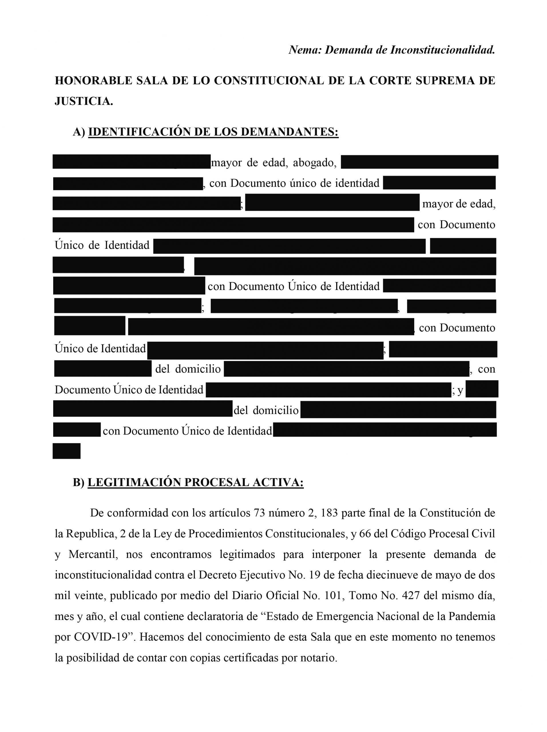 Demanda de inconstitucionalidad contra DE 19 presentada por FESPAD