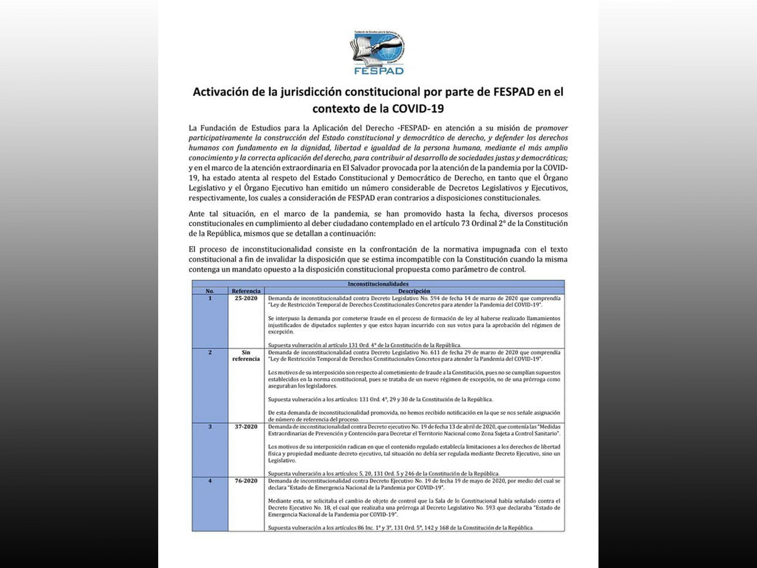 Comunicado: Activación de la jurisdicción constitucional por parte de FESPAD en el contexto de la COVID-19