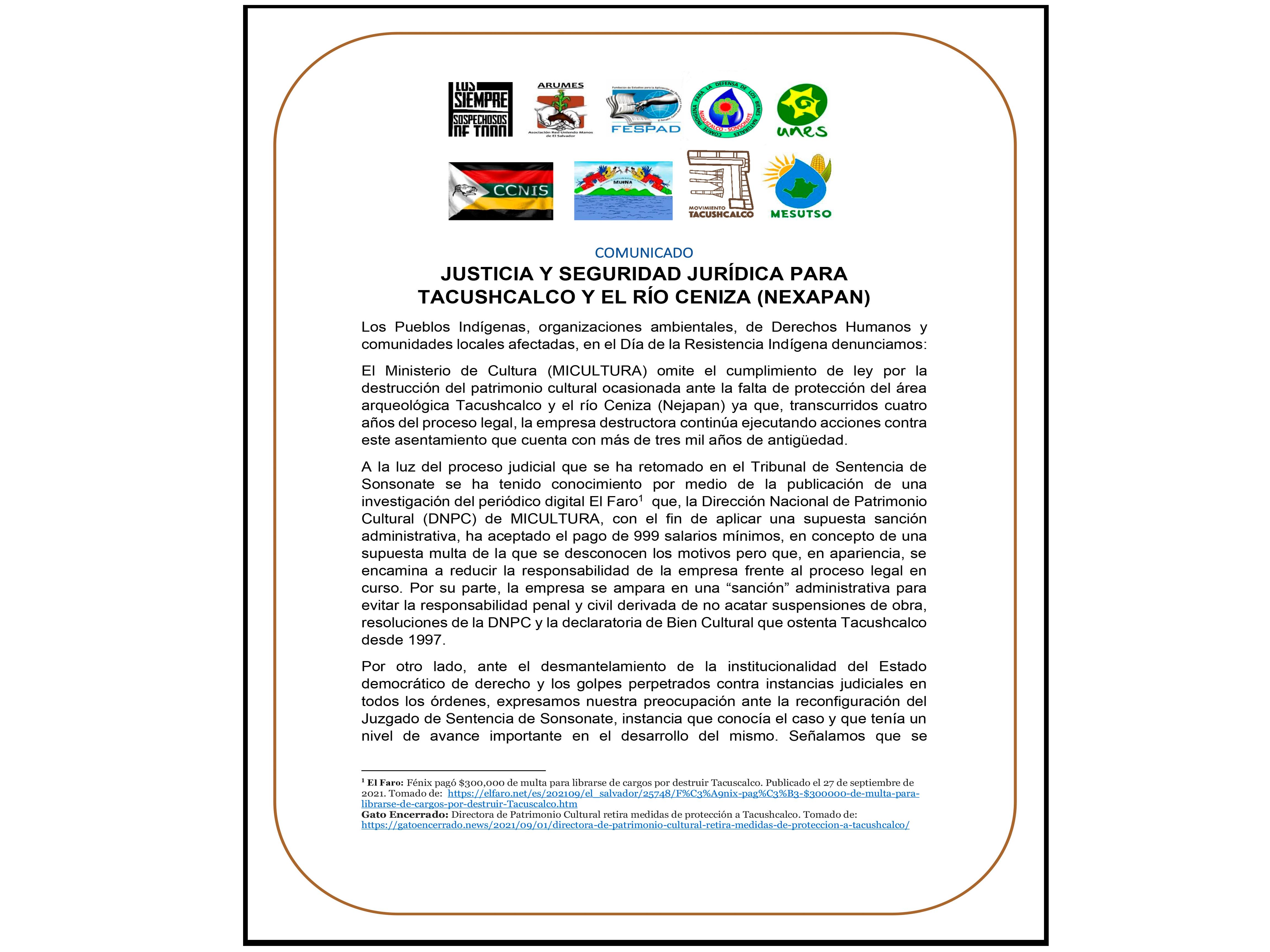 Comunicado: Justicia y seguridad jurídica para Tacushcalco y el Río Ceniza (Nexapan)
