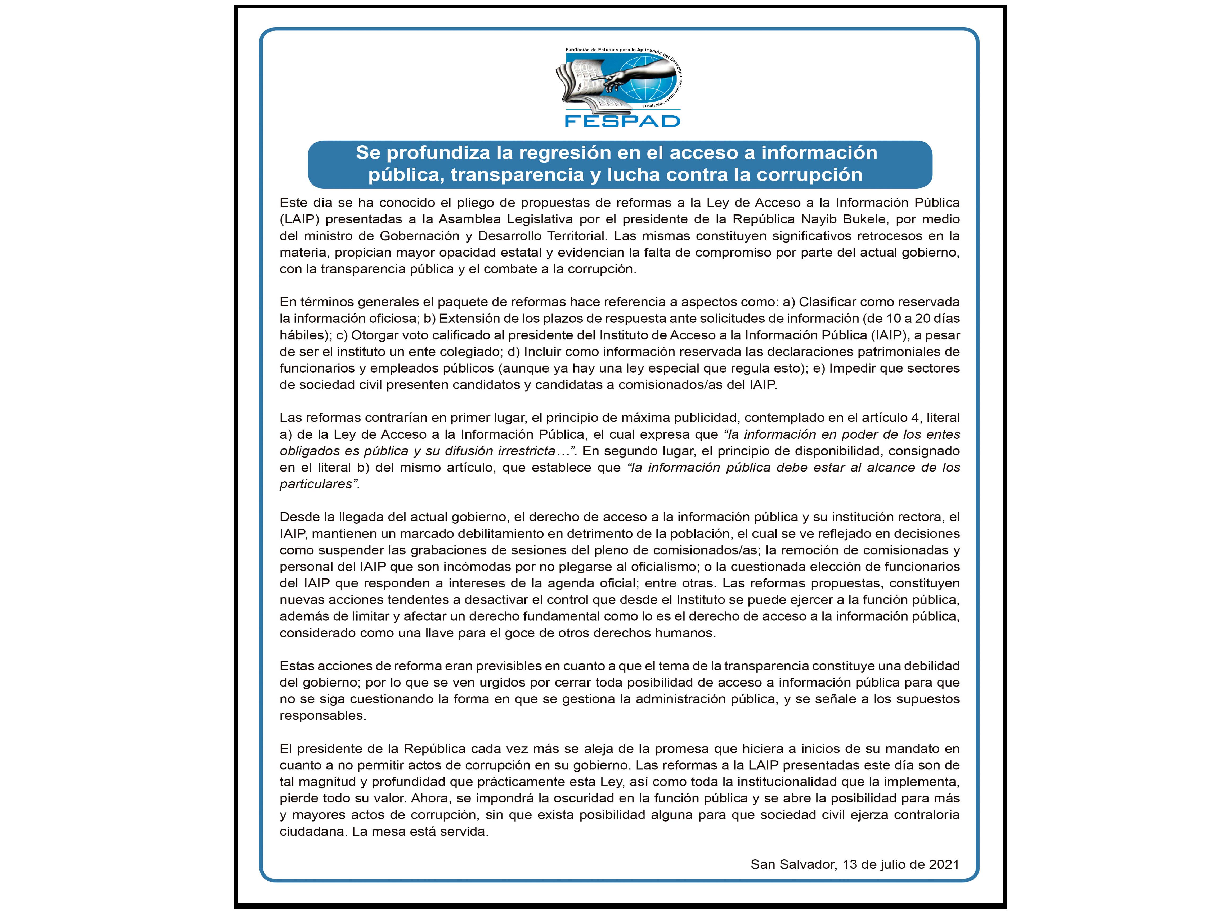 Comunicado: Se profundiza la regresión en el acceso a información pública, transparencia y lucha contra la corrupción