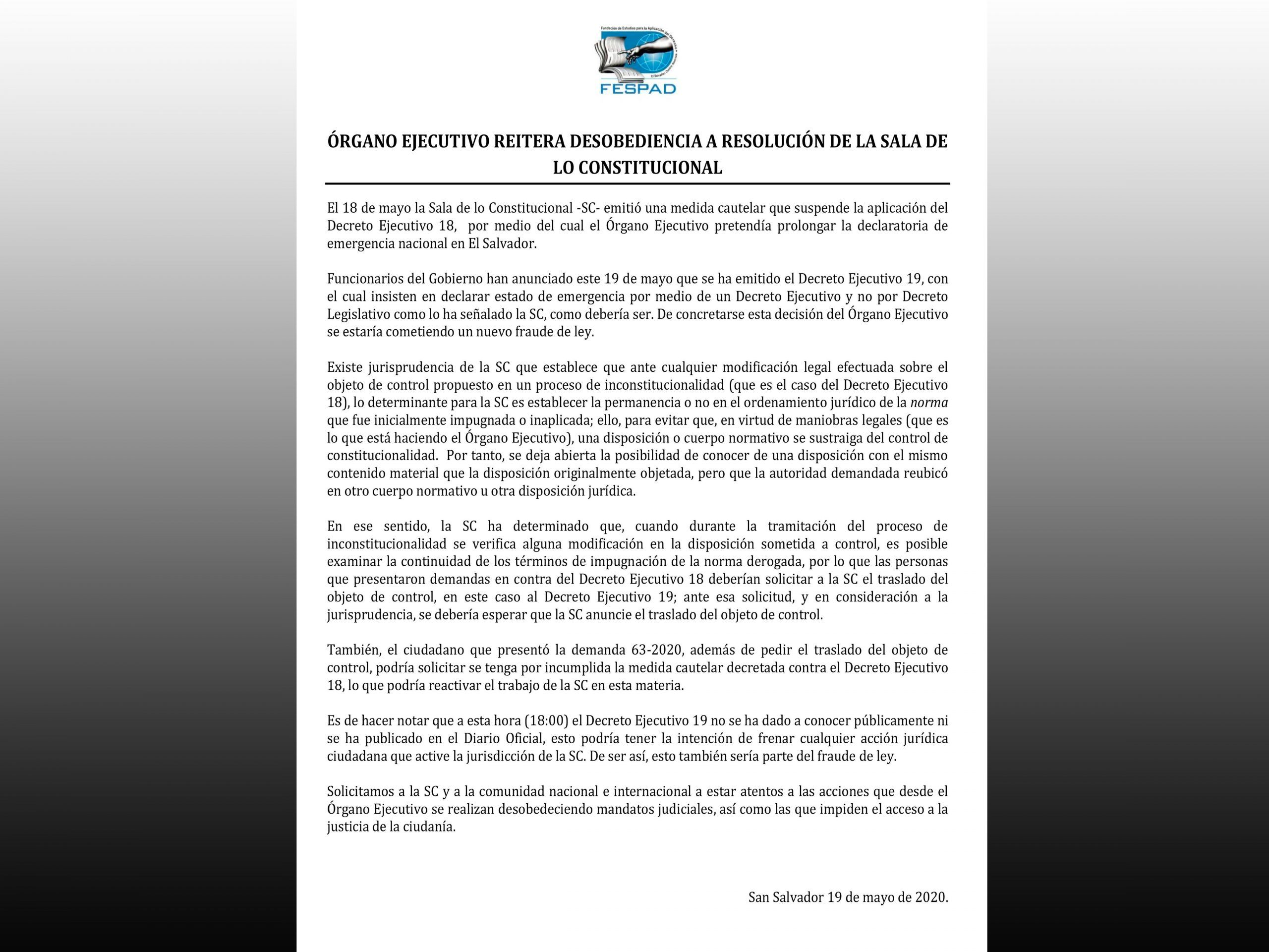 Comunicado: Órgano Ejecutivo reitera desobediencia a resolución de Sala