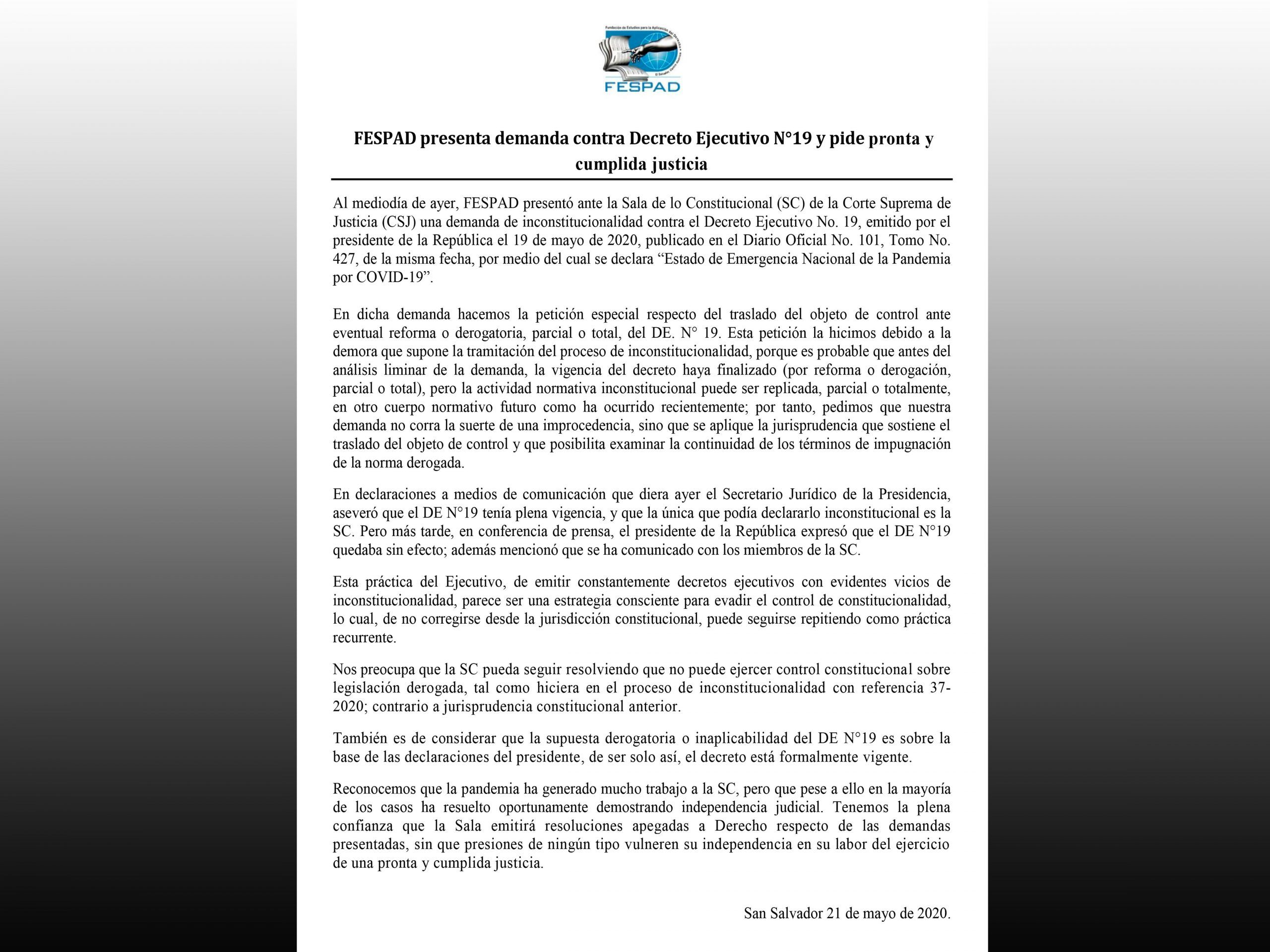 Comunicado: FESPAD presenta demanda contra DE 19 y pide pronta y cumplida justicia