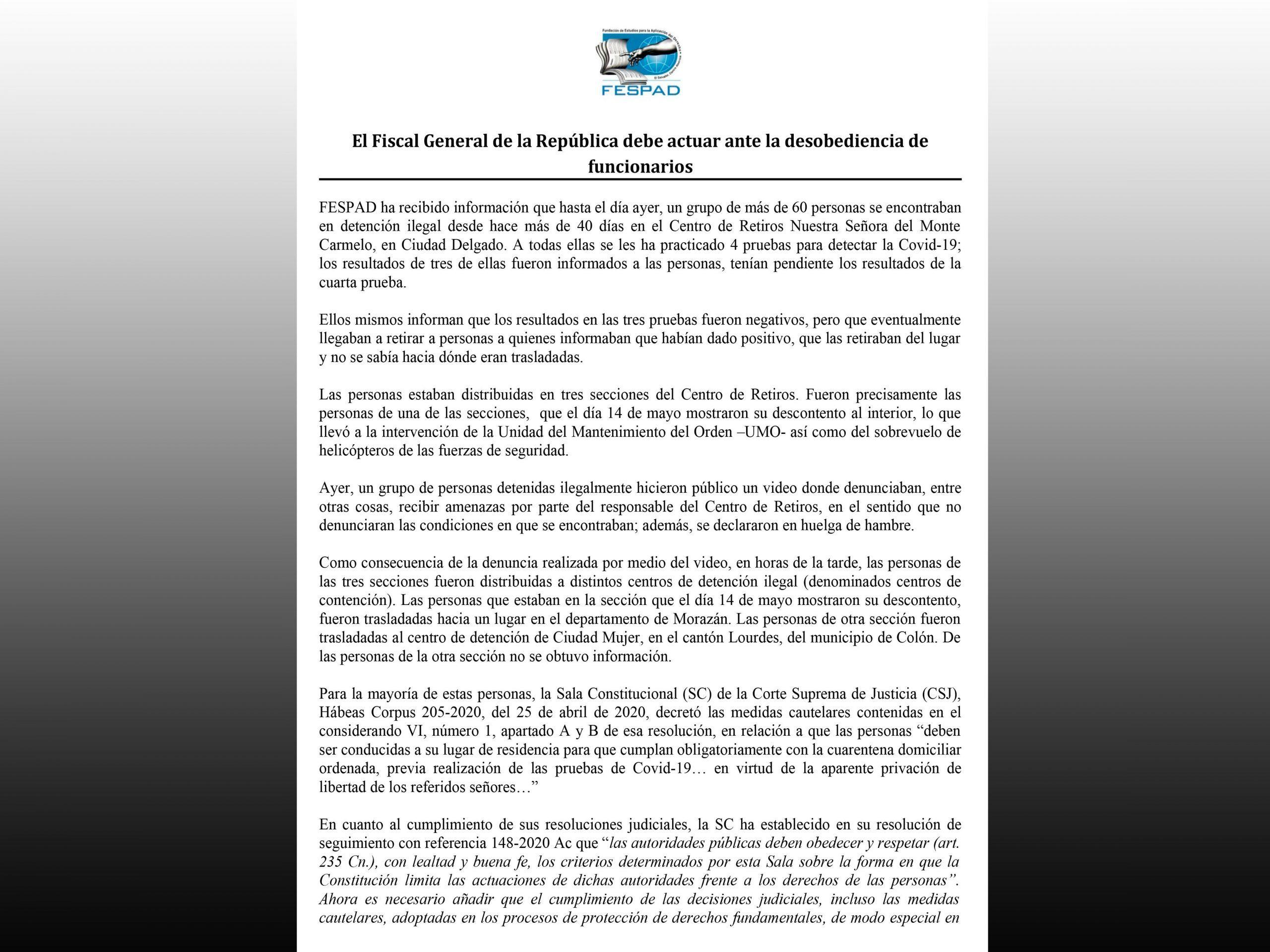Comunicado: El Fiscal General de la República debe actuar ante desobediencia de funcionarios