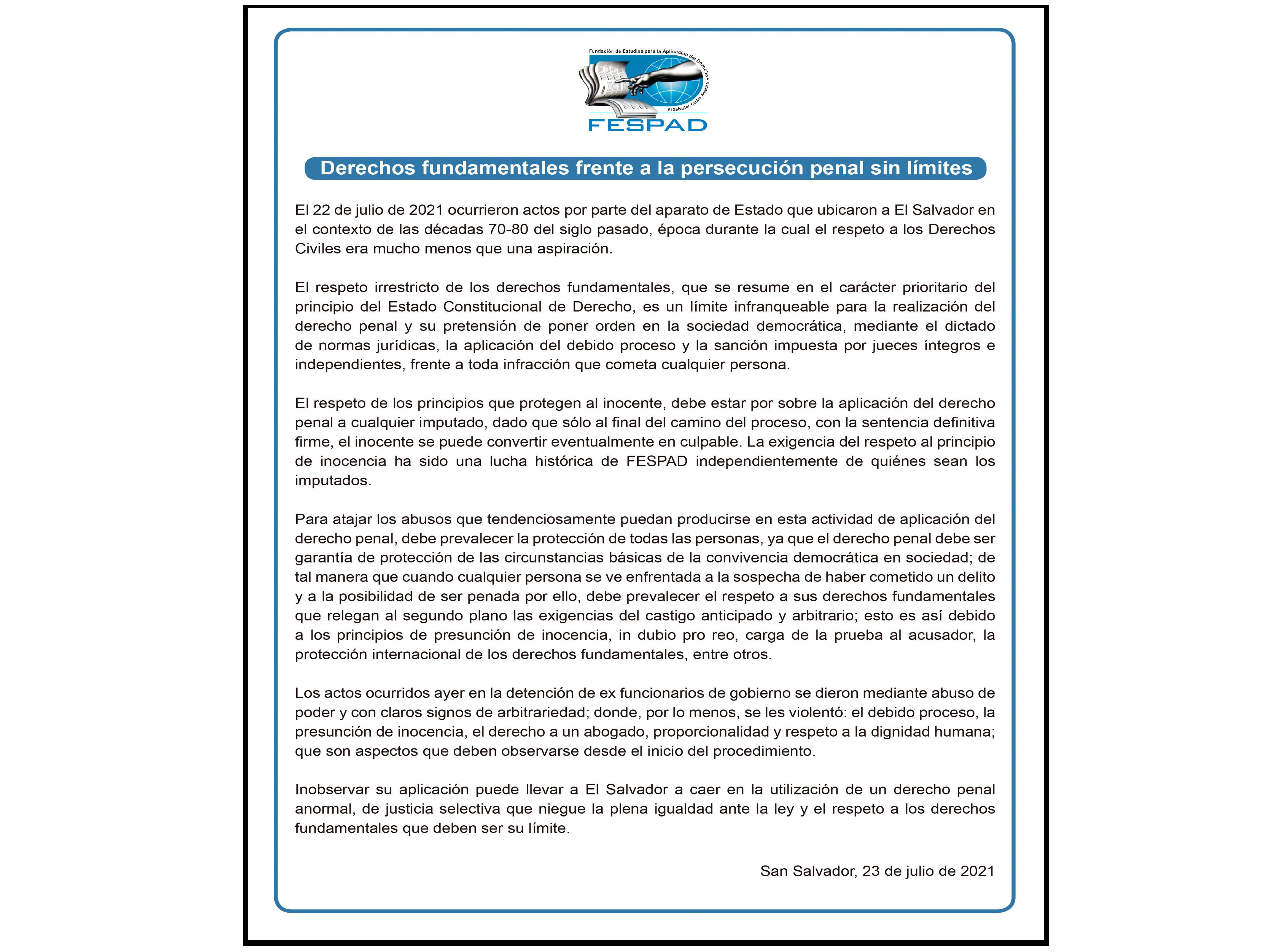 Comunicado: Derechos fundamentales frente a la persecución penal sin límites