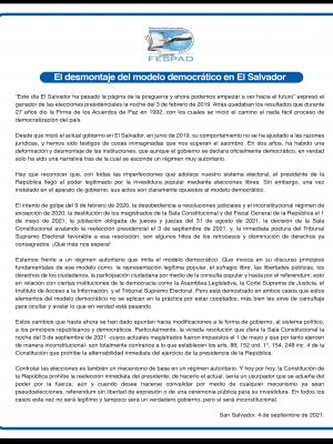 Comunicado: El desmontaje del modelo democrático en El Salvador