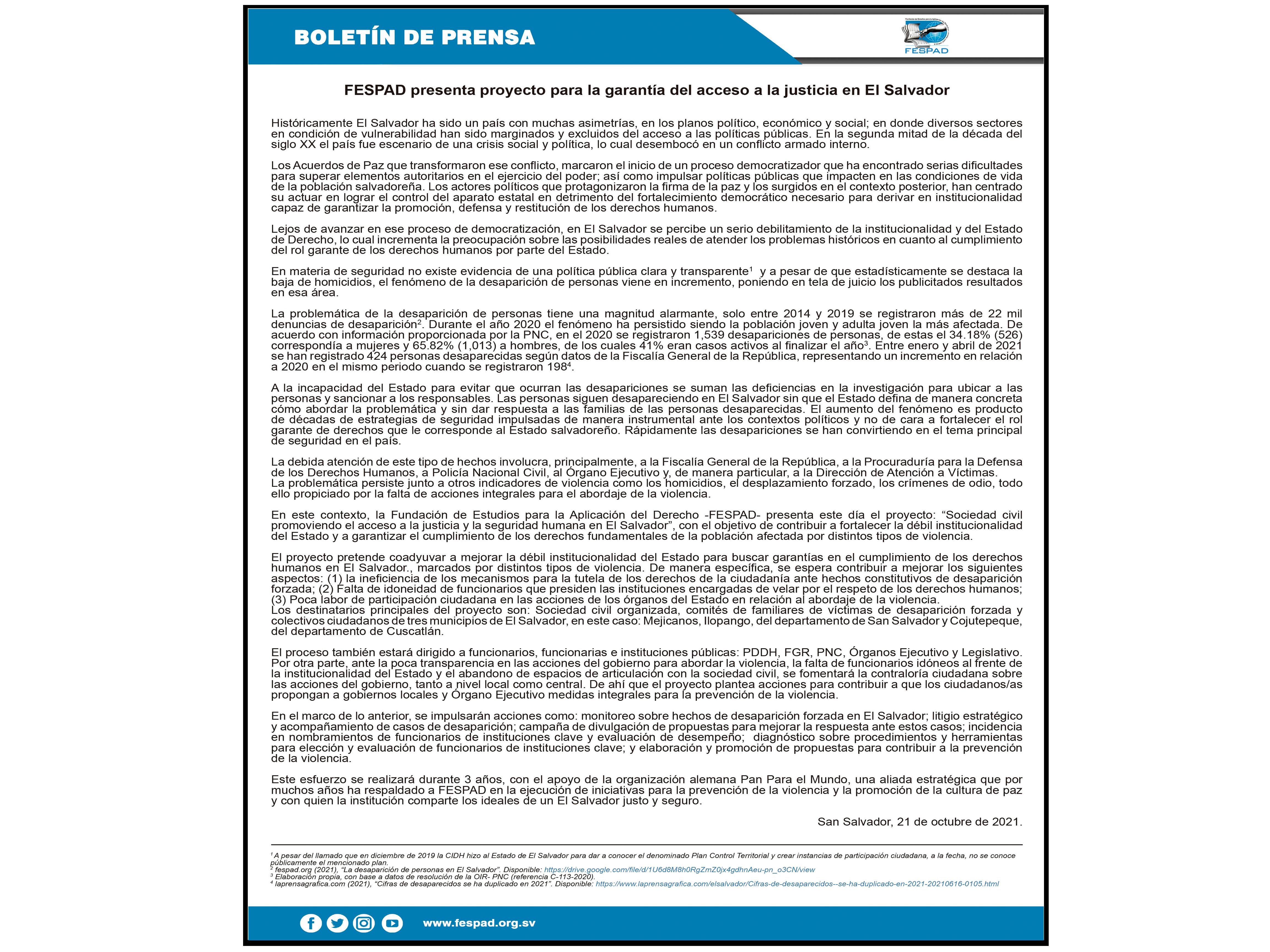Boletín de prensa: FESPAD presenta proyecto para la garantía del acceso a la justicia
