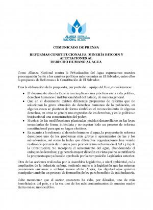 Comunicado: Reformas constitucionales, minería bitcoin y afectaciones al derecho humano al agua