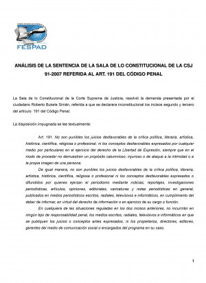 Análisis de FESPAD sobre sentencia 91-2007