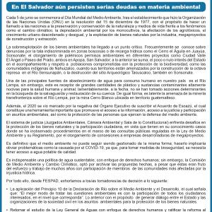Comunicado: En El Salvador aún persisten serias deudas en materia ambiental