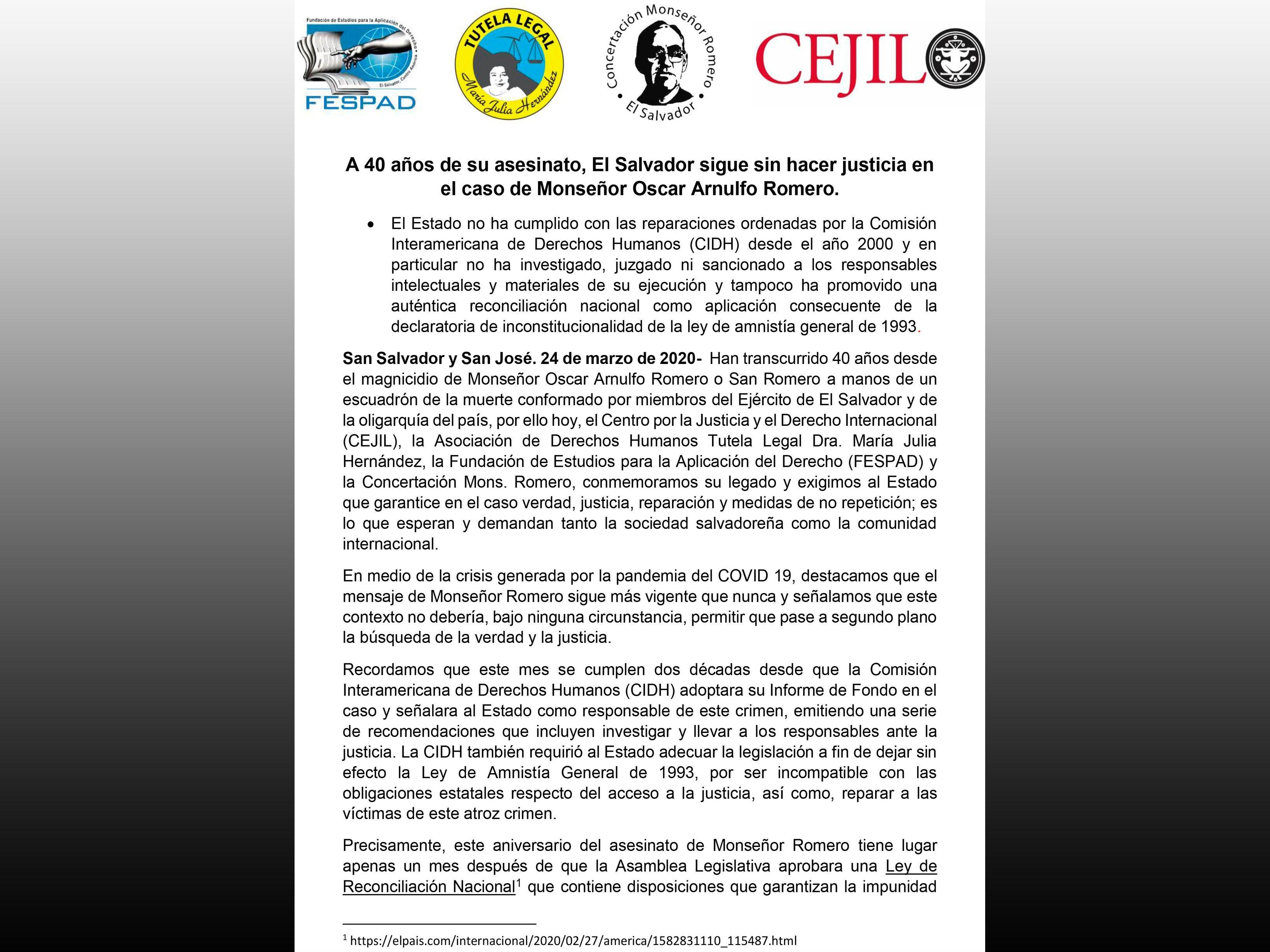 COMUNICADO: El Salvador sigue sin hacer justicia en caso de Monseñor Romero.