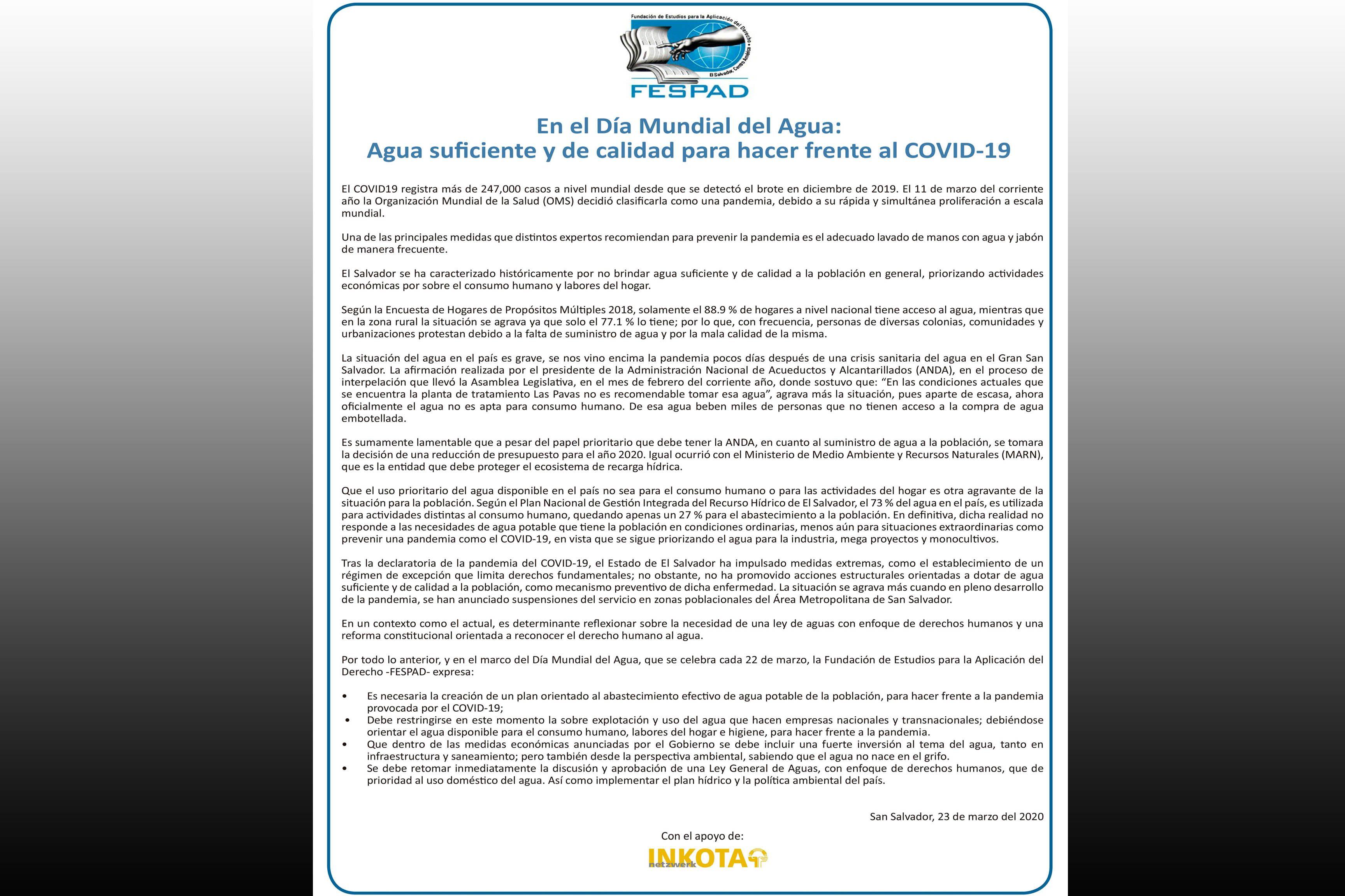 COMUNICADO: Agua suficiente y de calidad para hacer frente al COVID -19