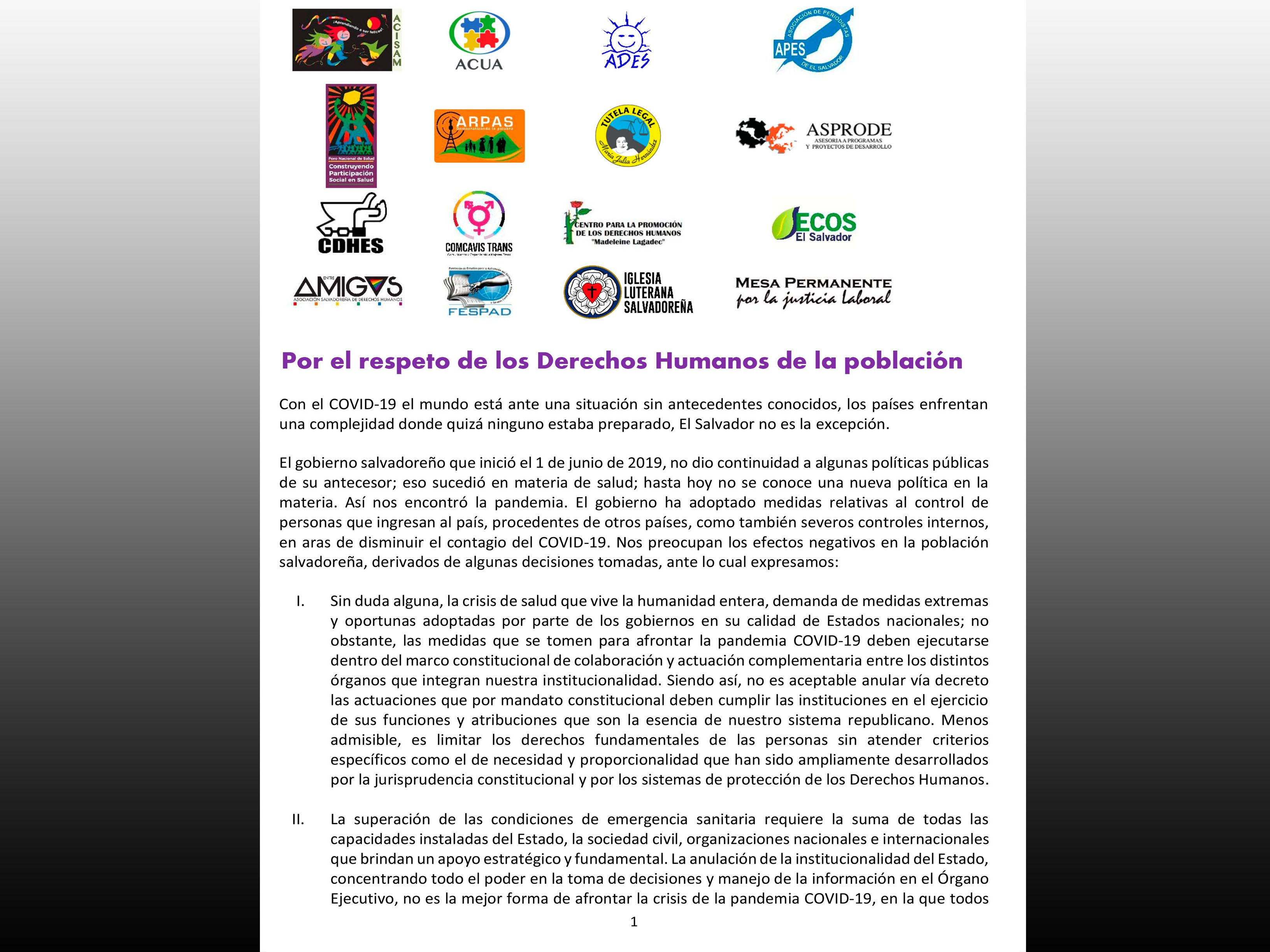 COMUNICADO: Por el respeto de los Derechos Humanos de la población