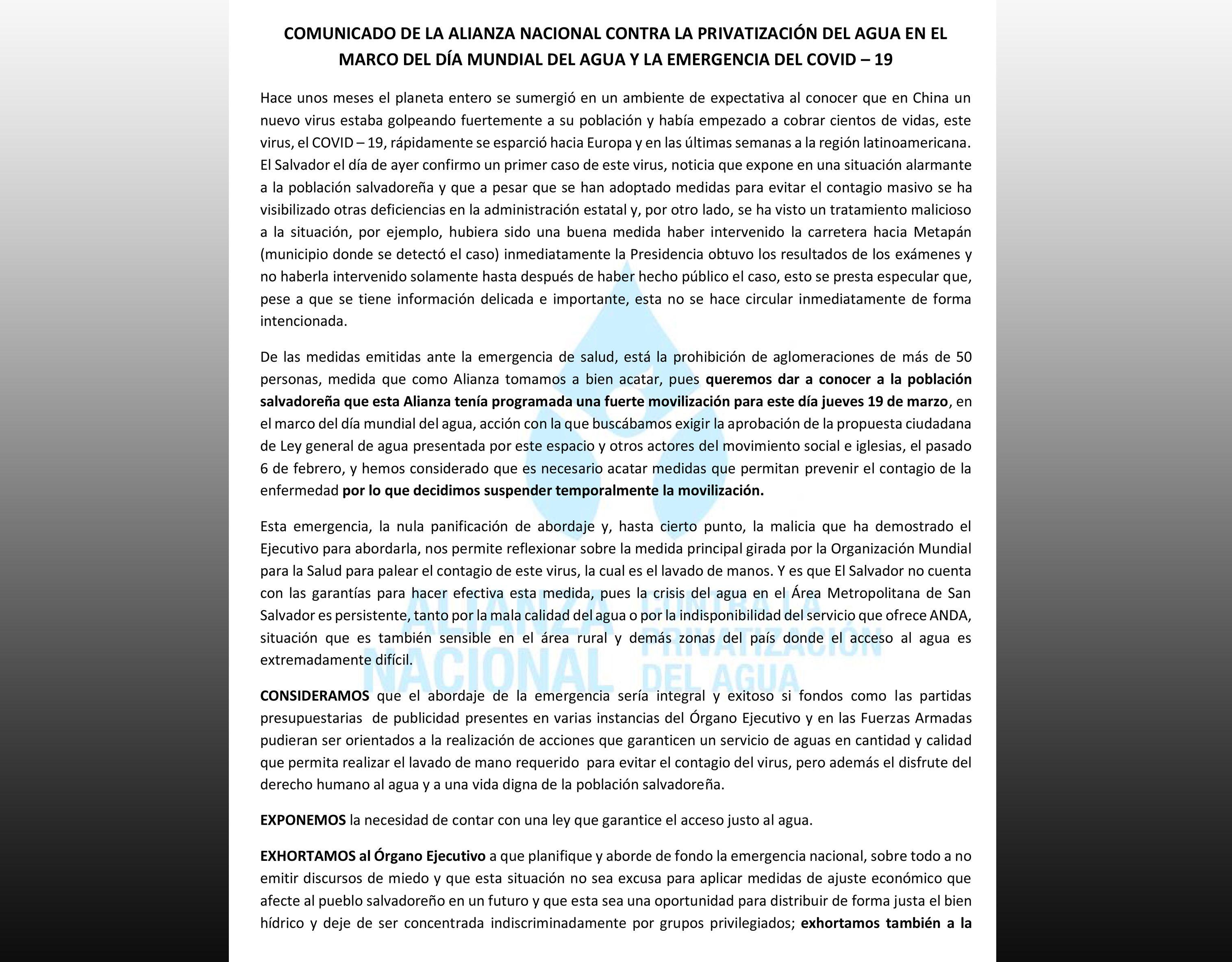 COMUNICADO: en el marco del Día Mundial del Agua y emergencia por COVID-19