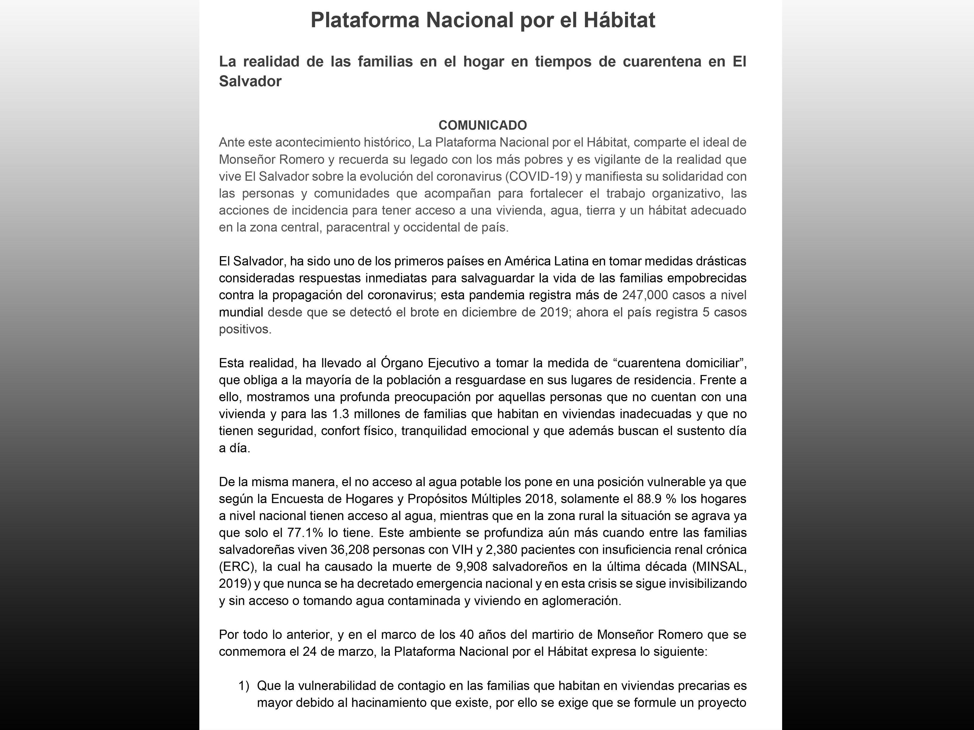 COMUNICADO: Realidad de las familias en tiempos de cuarentena