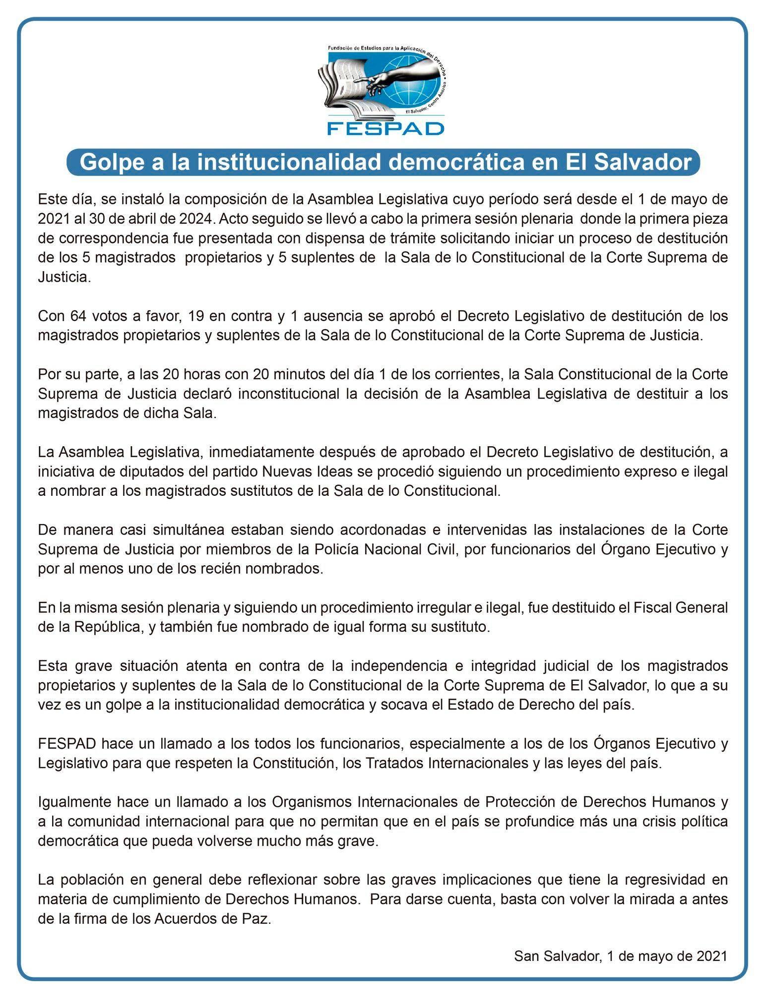 Comunicado: Golpe a la institucionalidad democrática en El Salvador